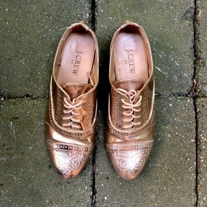 Jcrew faux leather rose gold metallic oxfords.